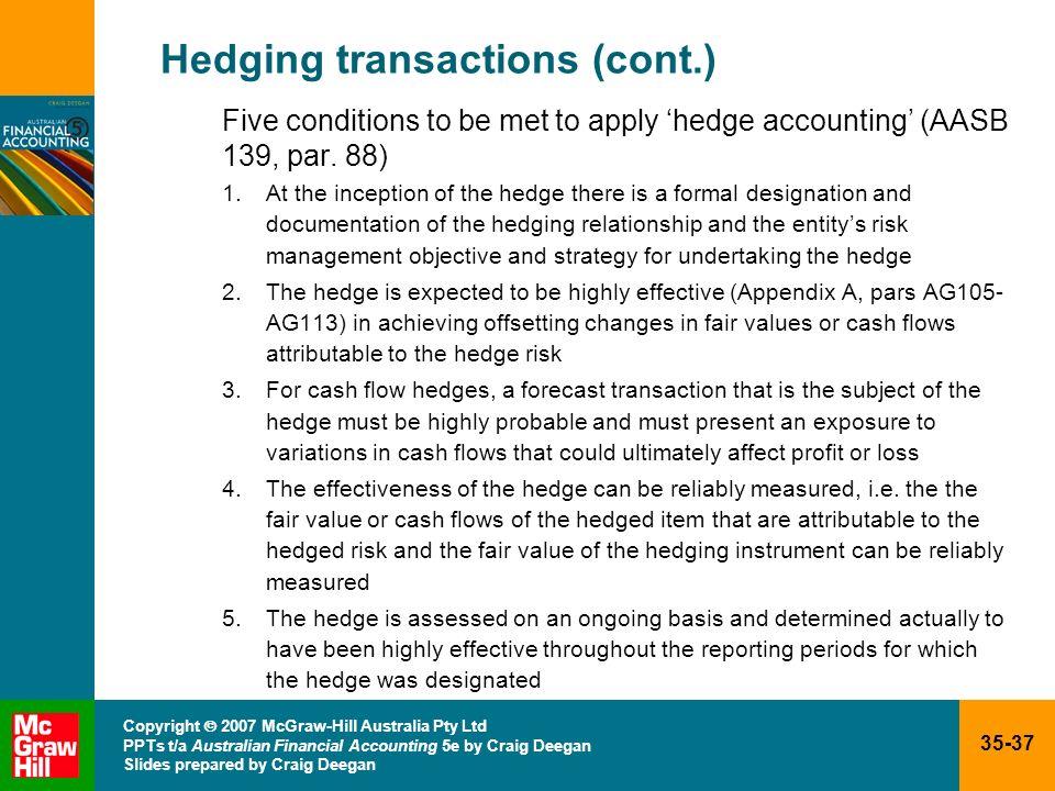 35-37 Copyright 2007 McGraw-Hill Australia Pty Ltd PPTs t/a Australian Financial Accounting 5e by Craig Deegan Slides prepared by Craig Deegan Hedging
