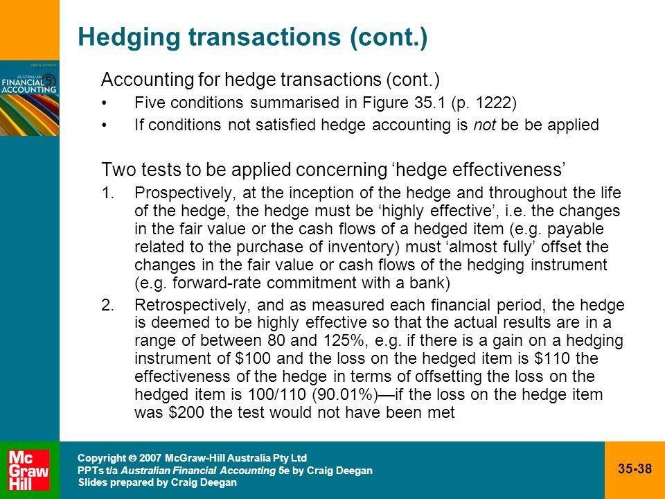 35-38 Copyright 2007 McGraw-Hill Australia Pty Ltd PPTs t/a Australian Financial Accounting 5e by Craig Deegan Slides prepared by Craig Deegan Hedging