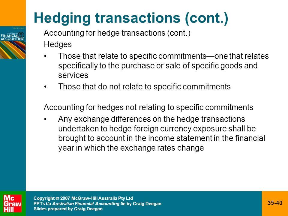 35-40 Copyright 2007 McGraw-Hill Australia Pty Ltd PPTs t/a Australian Financial Accounting 5e by Craig Deegan Slides prepared by Craig Deegan Hedging