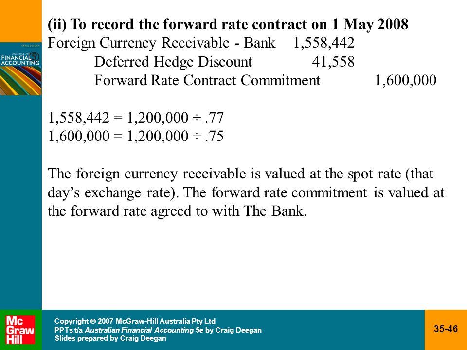 35-46 Copyright 2007 McGraw-Hill Australia Pty Ltd PPTs t/a Australian Financial Accounting 5e by Craig Deegan Slides prepared by Craig Deegan (ii) To