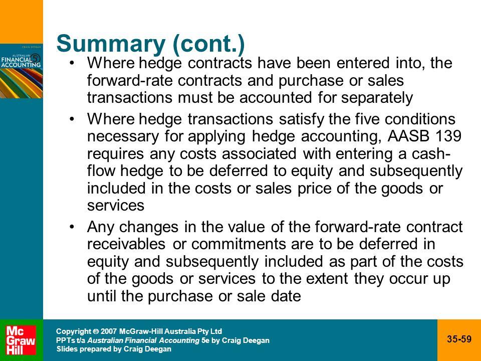 35-59 Copyright 2007 McGraw-Hill Australia Pty Ltd PPTs t/a Australian Financial Accounting 5e by Craig Deegan Slides prepared by Craig Deegan Summary