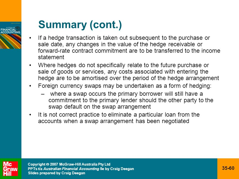 35-60 Copyright 2007 McGraw-Hill Australia Pty Ltd PPTs t/a Australian Financial Accounting 5e by Craig Deegan Slides prepared by Craig Deegan Summary