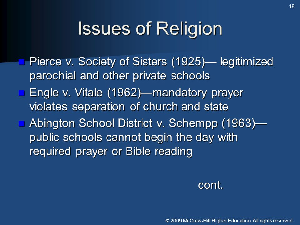 © 2009 McGraw-Hill Higher Education. All rights reserved. Issues of Religion Pierce v. Society of Sisters (1925) legitimized parochial and other priva