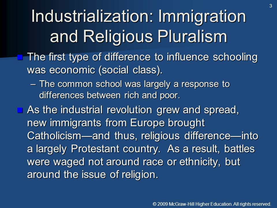 © 2009 McGraw-Hill Higher Education. All rights reserved. Industrialization: Immigration and Religious Pluralism The first type of difference to influ