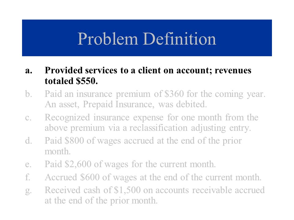 a.Provided services to a client on account; revenues totaled $550. b.Paid an insurance premium of $360 for the coming year. An asset, Prepaid Insuranc