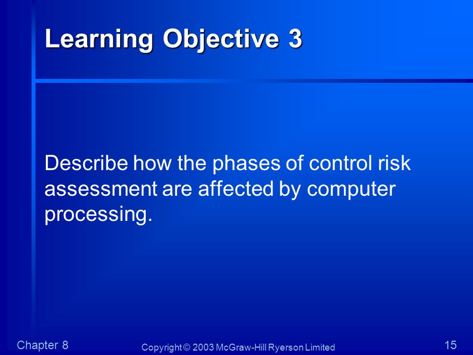 Copyright © 2003 McGraw-Hill Ryerson Limited Chapter 815 Learning Objective 3 Describe how the phases of control risk assessment are affected by compu