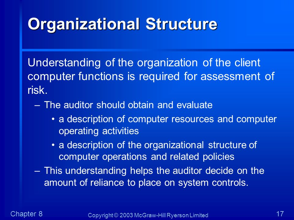 Copyright © 2003 McGraw-Hill Ryerson Limited Chapter 817 Organizational Structure Understanding of the organization of the client computer functions i