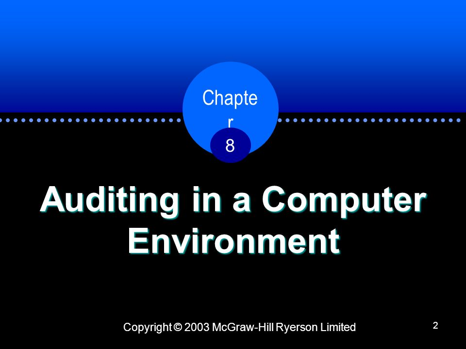 Copyright © 2003 McGraw-Hill Ryerson Limited Chapter 833 Personal Computer Environment PC Control Considerations: –Most control problems can be traced to lack of segregation of duties and lack of computerized control procedures.