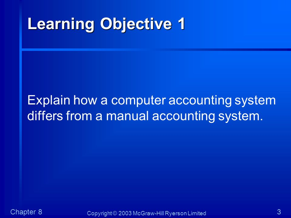 Copyright © 2003 McGraw-Hill Ryerson Limited Chapter 824 Learning Objective 4 Describe and explain general control procedures and place the application control procedures covered in Chapter 6 in the context of computerized error checking routines.
