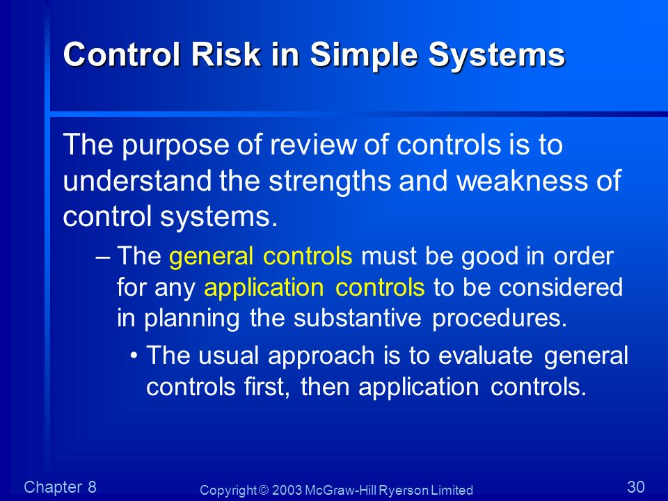 Copyright © 2003 McGraw-Hill Ryerson Limited Chapter 830 Control Risk in Simple Systems The purpose of review of controls is to understand the strengt