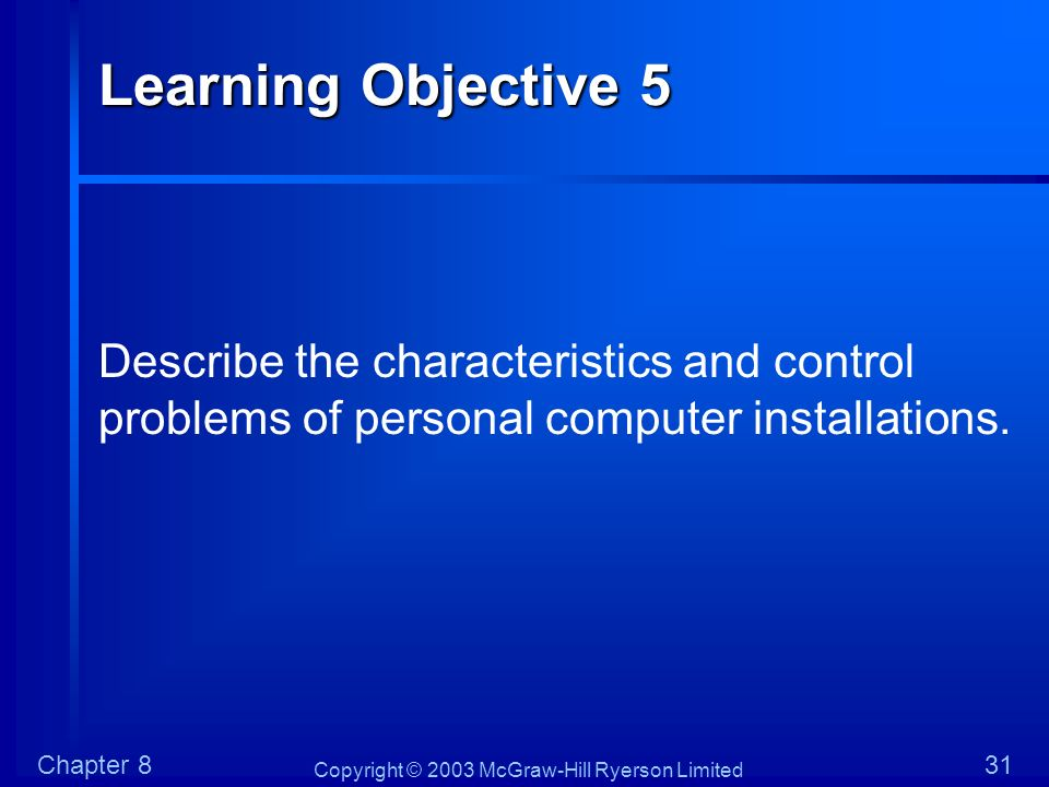 Copyright © 2003 McGraw-Hill Ryerson Limited Chapter 831 Learning Objective 5 Describe the characteristics and control problems of personal computer i