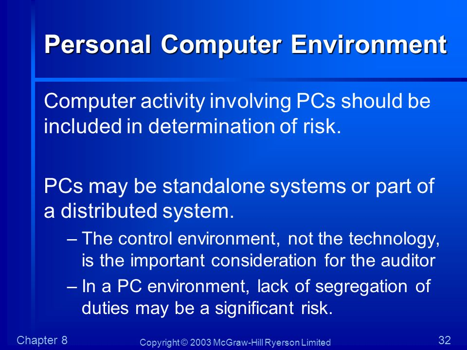 Copyright © 2003 McGraw-Hill Ryerson Limited Chapter 832 Personal Computer Environment Computer activity involving PCs should be included in determina