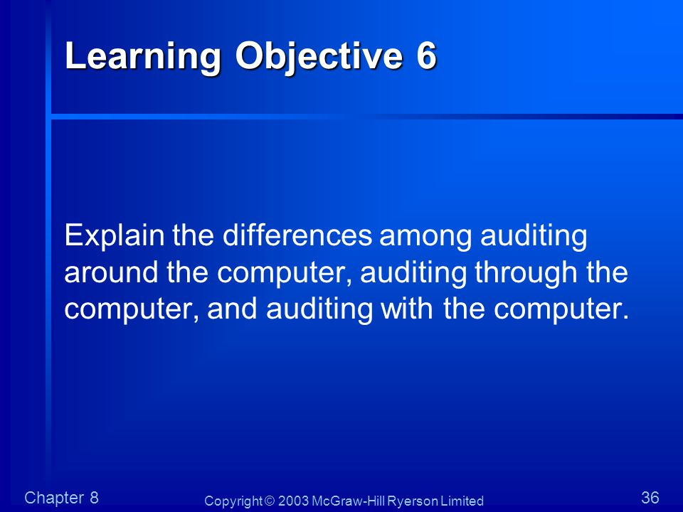 Copyright © 2003 McGraw-Hill Ryerson Limited Chapter 836 Learning Objective 6 Explain the differences among auditing around the computer, auditing thr