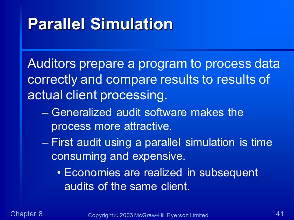 Copyright © 2003 McGraw-Hill Ryerson Limited Chapter 841 Parallel Simulation Auditors prepare a program to process data correctly and compare results
