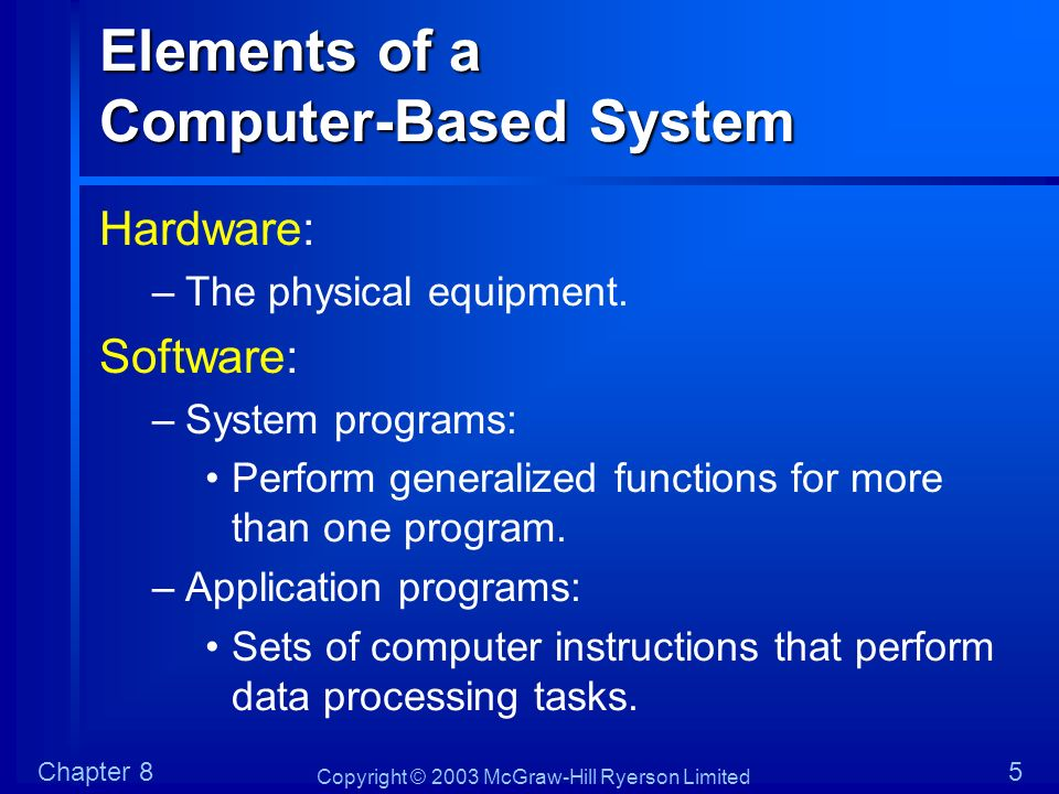 Copyright © 2003 McGraw-Hill Ryerson Limited Chapter 86 Elements of a Computer-Based System Documentation: –A description of the system and control structures.