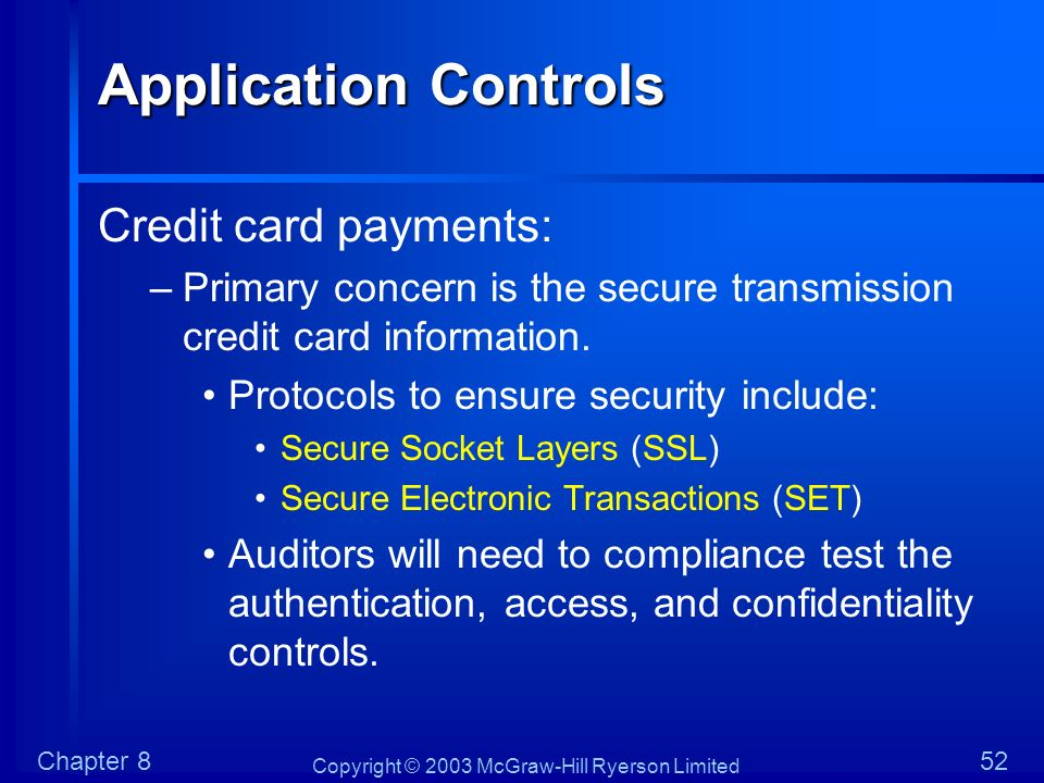 Copyright © 2003 McGraw-Hill Ryerson Limited Chapter 852 Application Controls Credit card payments: –Primary concern is the secure transmission credit