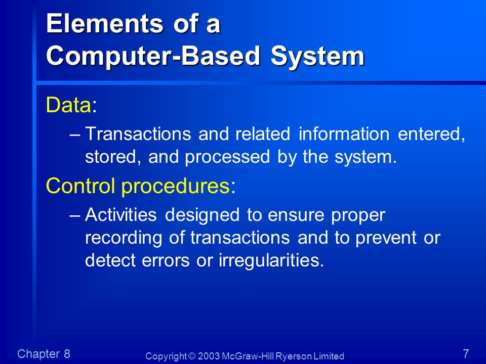 Copyright © 2003 McGraw-Hill Ryerson Limited Chapter 828 Application Control Procedures Application controls are those used in each application.