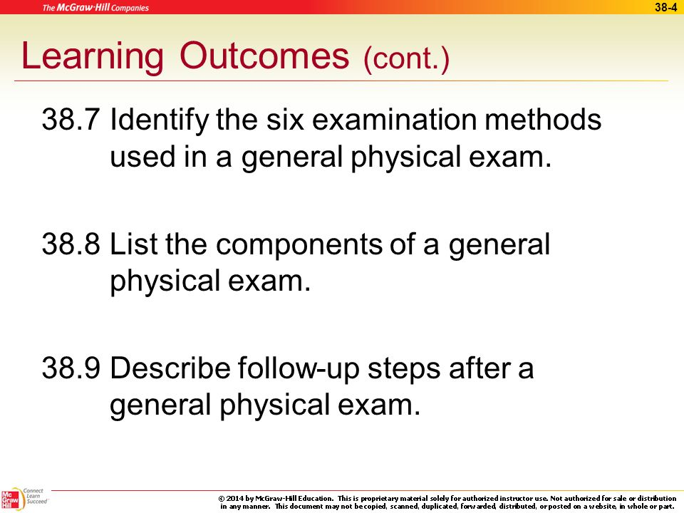 38-3 Learning Outcomes (cont.) 38.4 Carry out the steps necessary to prepare the patient for an exam. 38.5 Carry out positioning and draping a patient