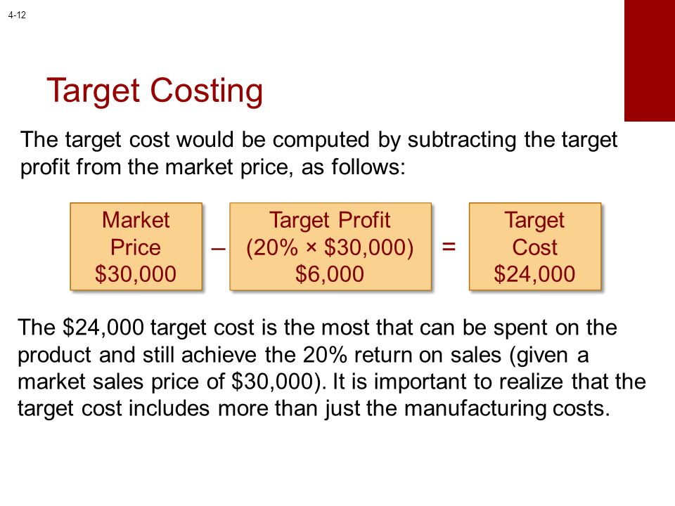 Target Costing The target cost would be computed by subtracting the target profit from the market price, as follows: Market Price $30,000 Target Profi