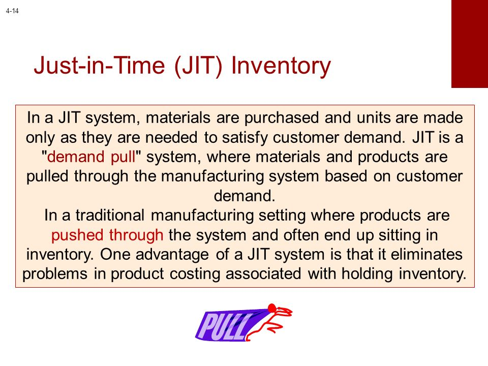 Just-in-Time (JIT) Inventory In a JIT system, materials are purchased and units are made only as they are needed to satisfy customer demand. JIT is a