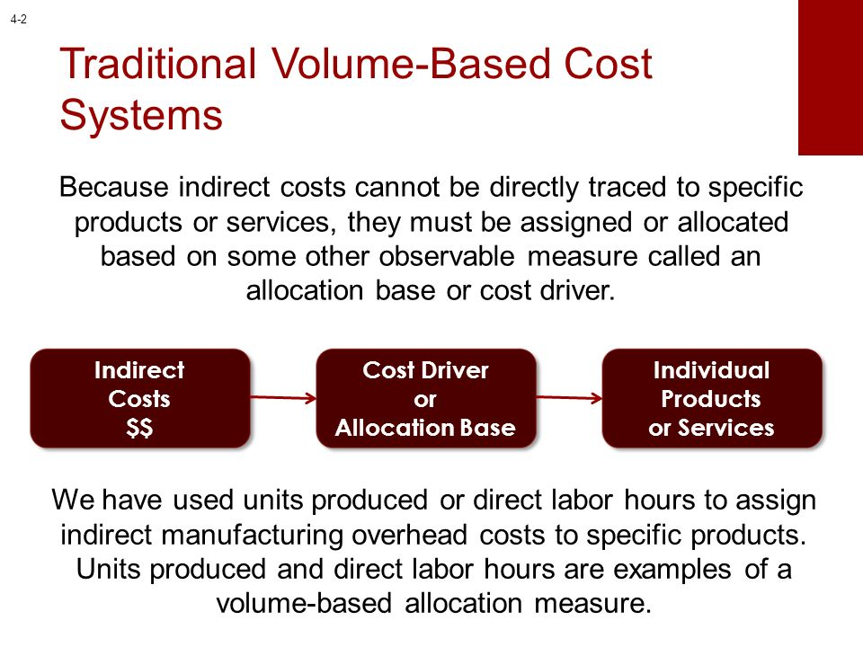 Traditional Volume-Based Cost Systems Because indirect costs cannot be directly traced to specific products or services, they must be assigned or allo