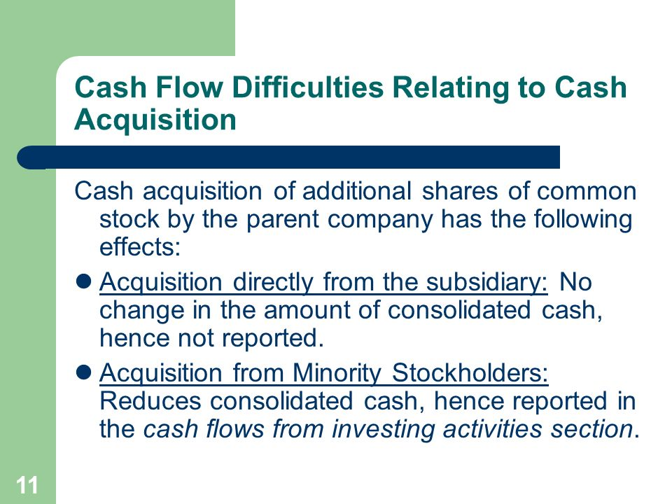 10 Cash Flow Difficulties Relating to Cash Dividends Reported cash flows from financing activities include cash dividends paid by parent company and p