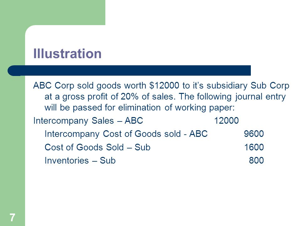 7 Illustration ABC Corp sold goods worth $12000 to its subsidiary Sub Corp at a gross profit of 20% of sales.