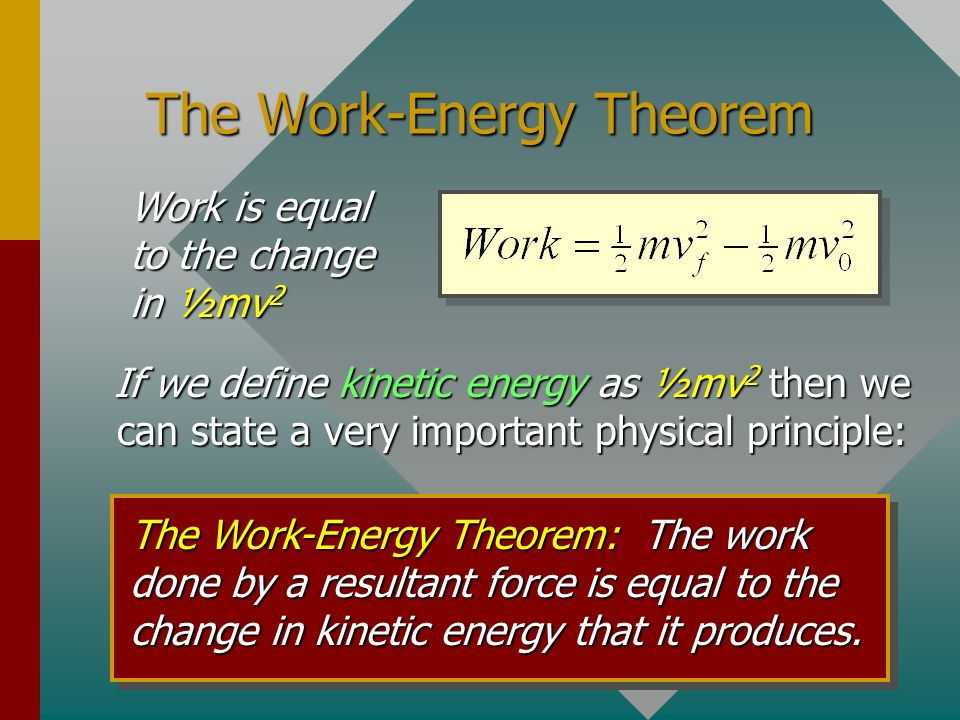 Work and Kinetic Energy A resultant force changes the velocity of an object and does work on that object. m vovo m vfvf x F F