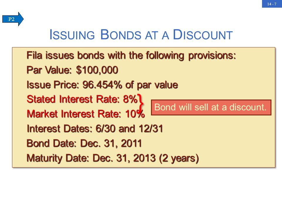 14 - 7 Fila issues bonds with the following provisions: Fila issues bonds with the following provisions: Par Value: $100,000 Par Value: $100,000 Issue