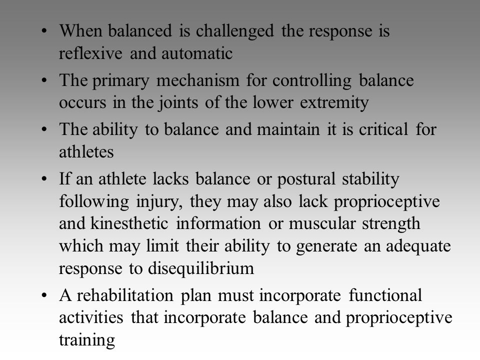 When balanced is challenged the response is reflexive and automatic The primary mechanism for controlling balance occurs in the joints of the lower ex