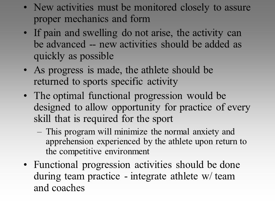 New activities must be monitored closely to assure proper mechanics and form If pain and swelling do not arise, the activity can be advanced -- new ac