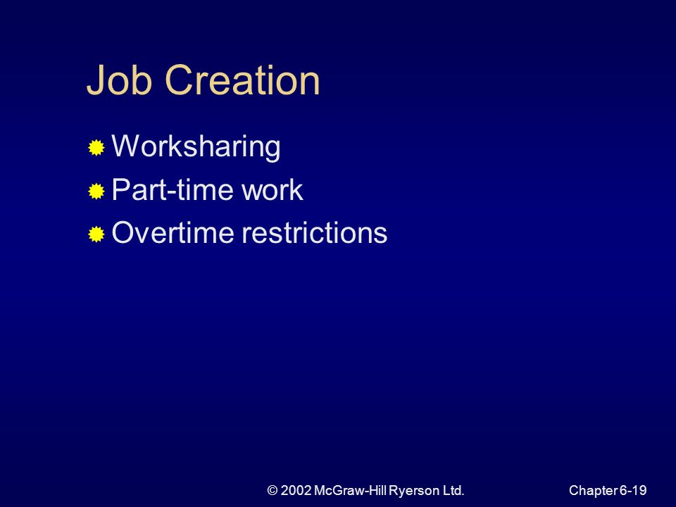 © 2002 McGraw-Hill Ryerson Ltd.Chapter 6-19 Job Creation Worksharing Part-time work Overtime restrictions