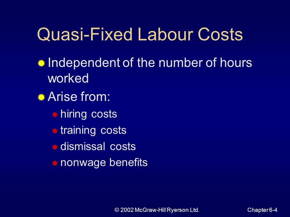 © 2002 McGraw-Hill Ryerson Ltd.Chapter 6-4 Quasi-Fixed Labour Costs Independent of the number of hours worked Arise from: hiring costs training costs