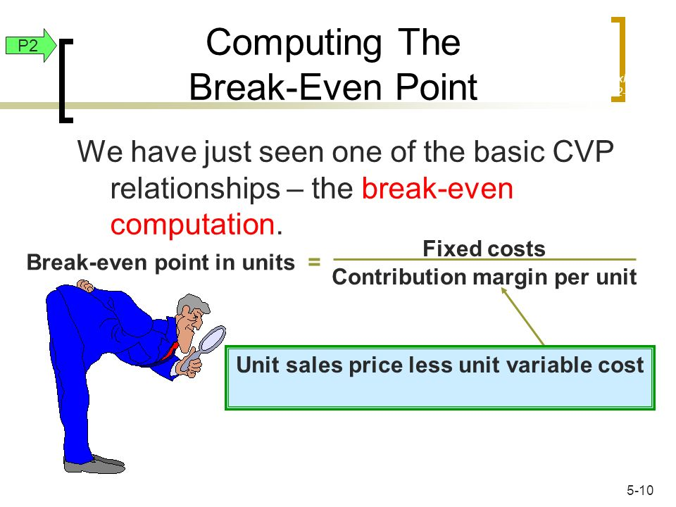 We have just seen one of the basic CVP relationships – the break-even computation. Break-even point in units = Fixed costs Contribution margin per uni
