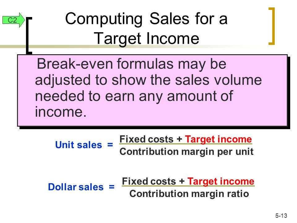 Break-even formulas may be adjusted to show the sales volume needed to earn any amount of income. Unit sales = Fixed costs + Target income Contributio