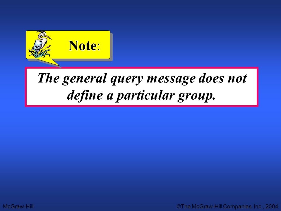 McGraw-Hill©The McGraw-Hill Companies, Inc., 2004 The general query message does not define a particular group. Note: