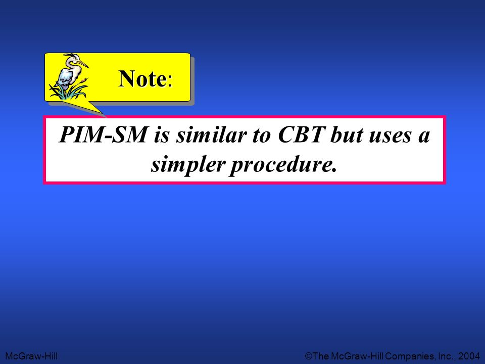 McGraw-Hill©The McGraw-Hill Companies, Inc., 2004 PIM-SM is similar to CBT but uses a simpler procedure. Note:
