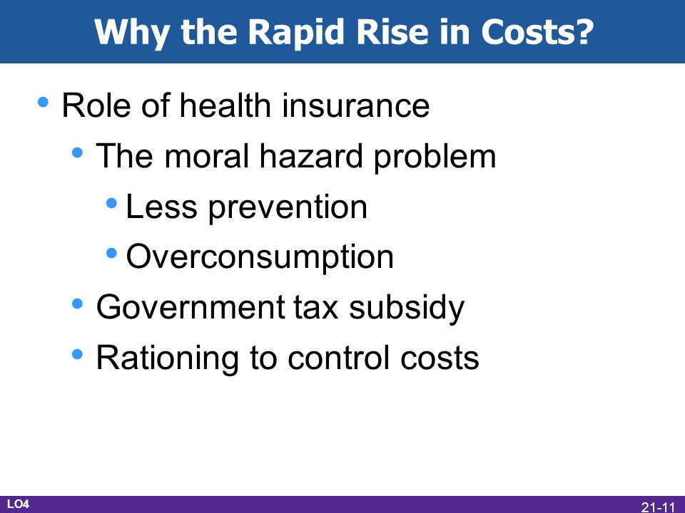 Role of health insurance The moral hazard problem Less prevention Overconsumption Government tax subsidy Rationing to control costs LO4 Why the Rapid