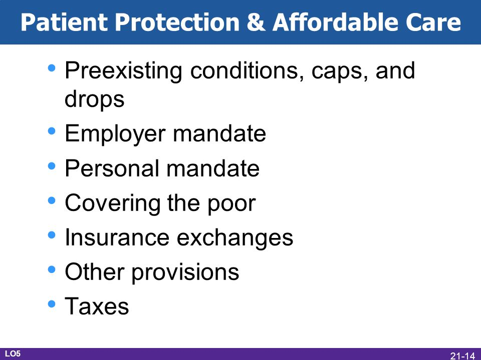 Patient Protection & Affordable Care Preexisting conditions, caps, and drops Employer mandate Personal mandate Covering the poor Insurance exchanges Other provisions Taxes LO5 21-14