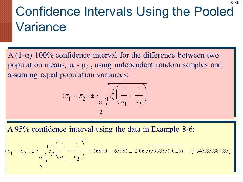 A (1- ) 100% confidence interval for the difference between two population means, 1 - 2, using independent random samples and assuming equal populatio