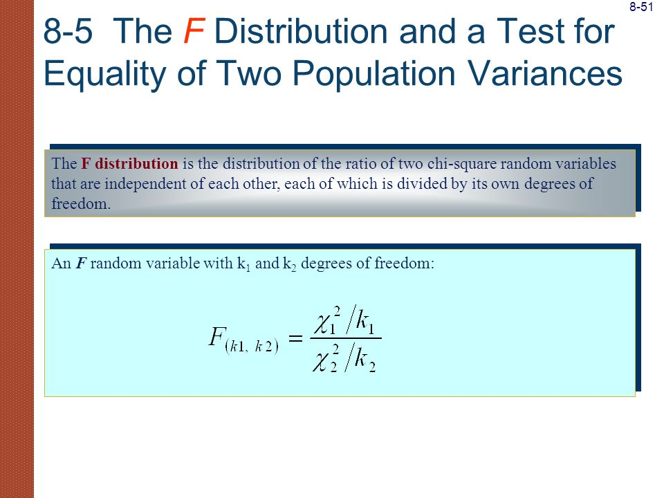 The F distribution is the distribution of the ratio of two chi-square random variables that are independent of each other, each of which is divided by