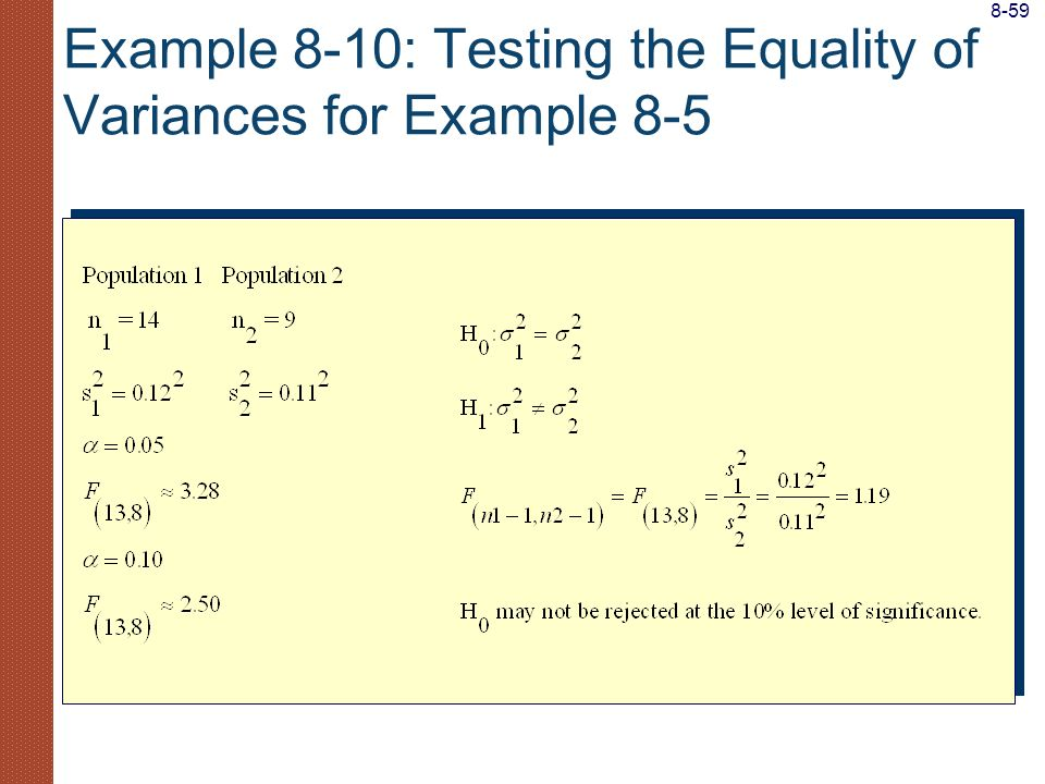 Example 8-10: Testing the Equality of Variances for Example 8-5 8-59