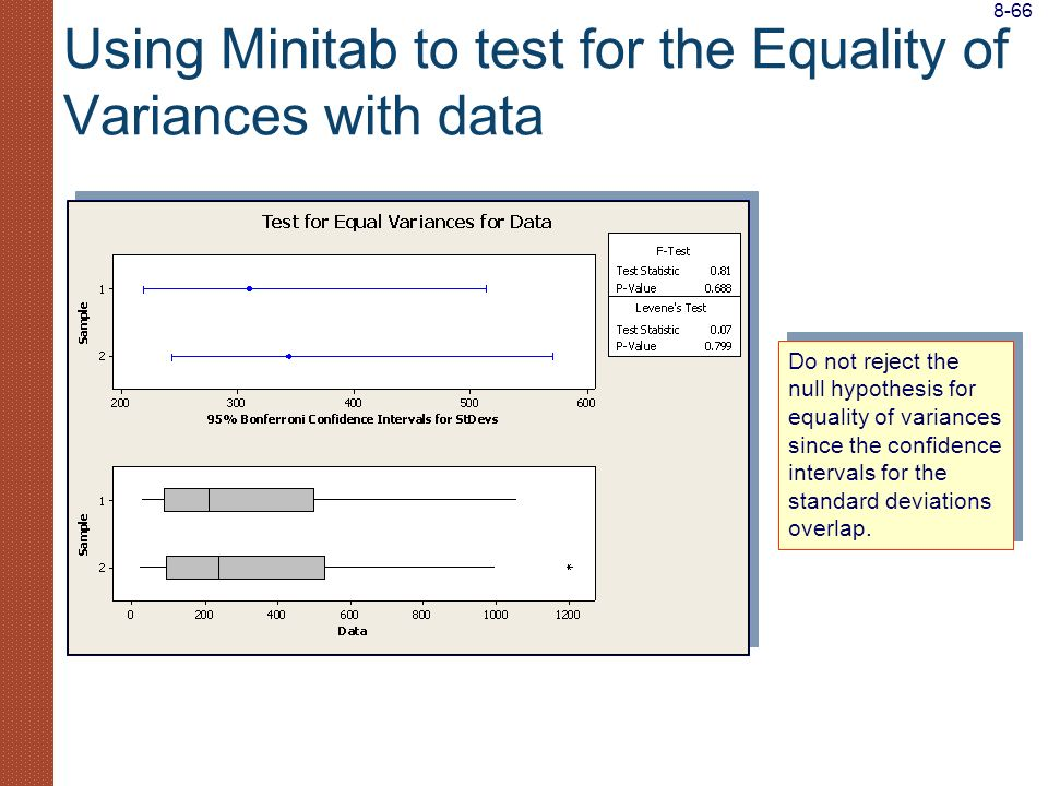 Using Minitab to test for the Equality of Variances with data Do not reject the null hypothesis for equality of variances since the confidence interva