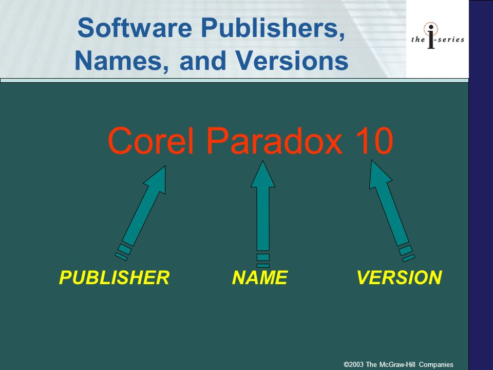©2003 The McGraw-Hill Companies Software Publishers, Names, and Versions Corel Paradox 10 PUBLISHER NAME VERSION
