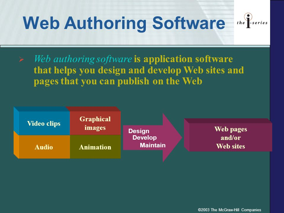 ©2003 The McGraw-Hill Companies Web Authoring Software Animation Graphical images Audio Video clips Design Develop Maintain Web pages and/or Web sites Web authoring software is application software that helps you design and develop Web sites and pages that you can publish on the Web