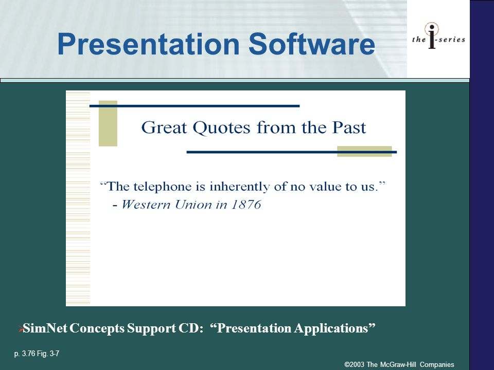 ©2003 The McGraw-Hill Companies Presentation Software p. 3.76 Fig. 3-7 SimNet Concepts Support CD: Presentation Applications