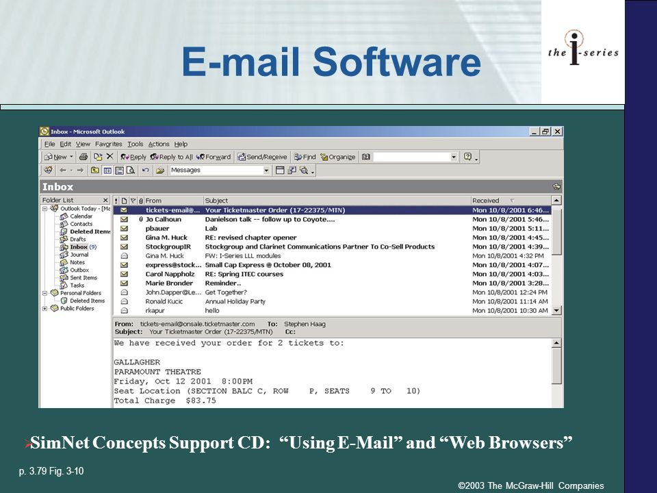 ©2003 The McGraw-Hill Companies E-mail Software p. 3.79 Fig. 3-10 SimNet Concepts Support CD: Using E-Mail and Web Browsers