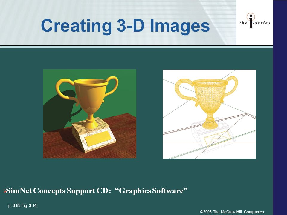 ©2003 The McGraw-Hill Companies Creating 3-D Images SimNet Concepts Support CD: Graphics Software p.