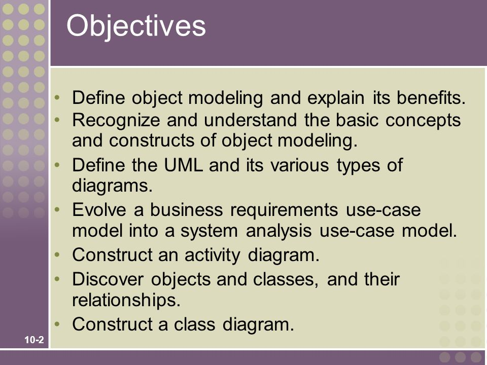 10-23 The Process of Object Modeling 1.Modeling the functions of the system.