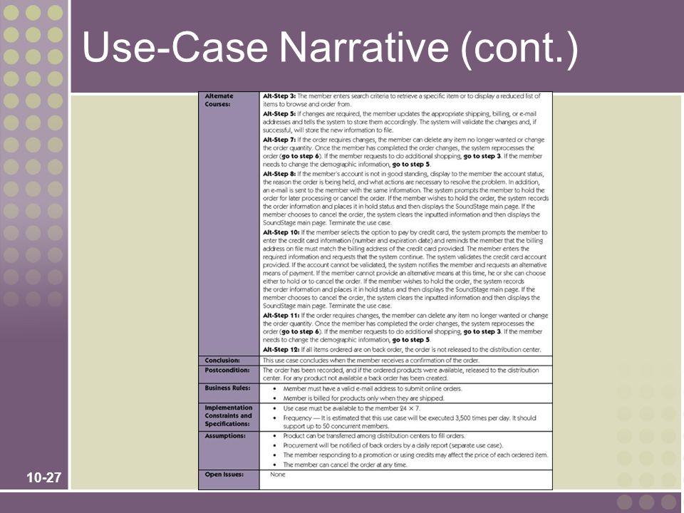 10-27 Use-Case Narrative (cont.)